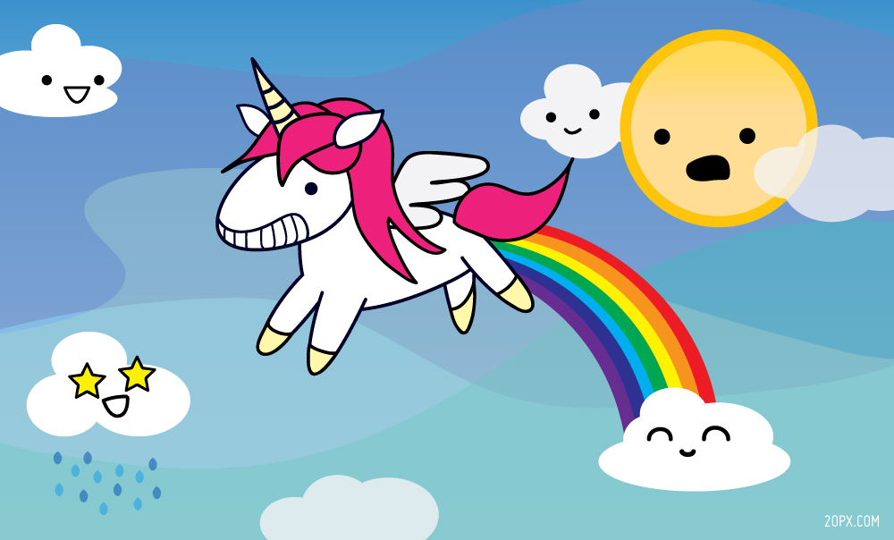 Unicorn Pooping a Rainbow