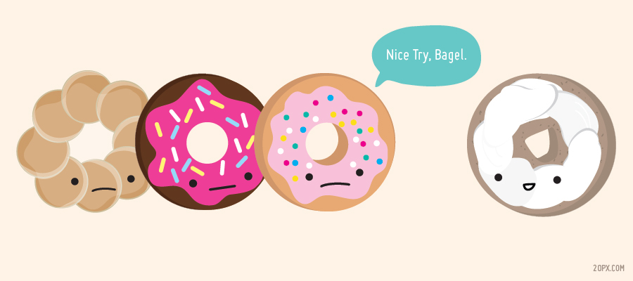 Cute Donuts vs Bagel