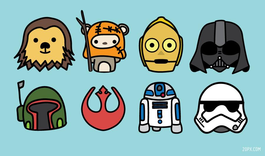 Star Wars - Chewbacca, Ewok, 3CPO, Darth Vader, Boba Fett, R2D2, Stormtrooper